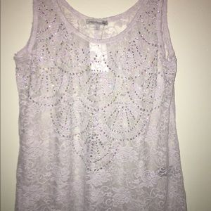 Charlotte Russe White Lace tank Top Large